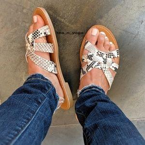 ❇️ Price Drop! ❇️ Snake Skin Slip On Flat Sandals